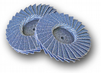 Flap discs with 'Roloc' type quick change fitting.